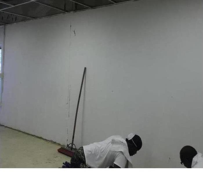 White commercial wall cleaned